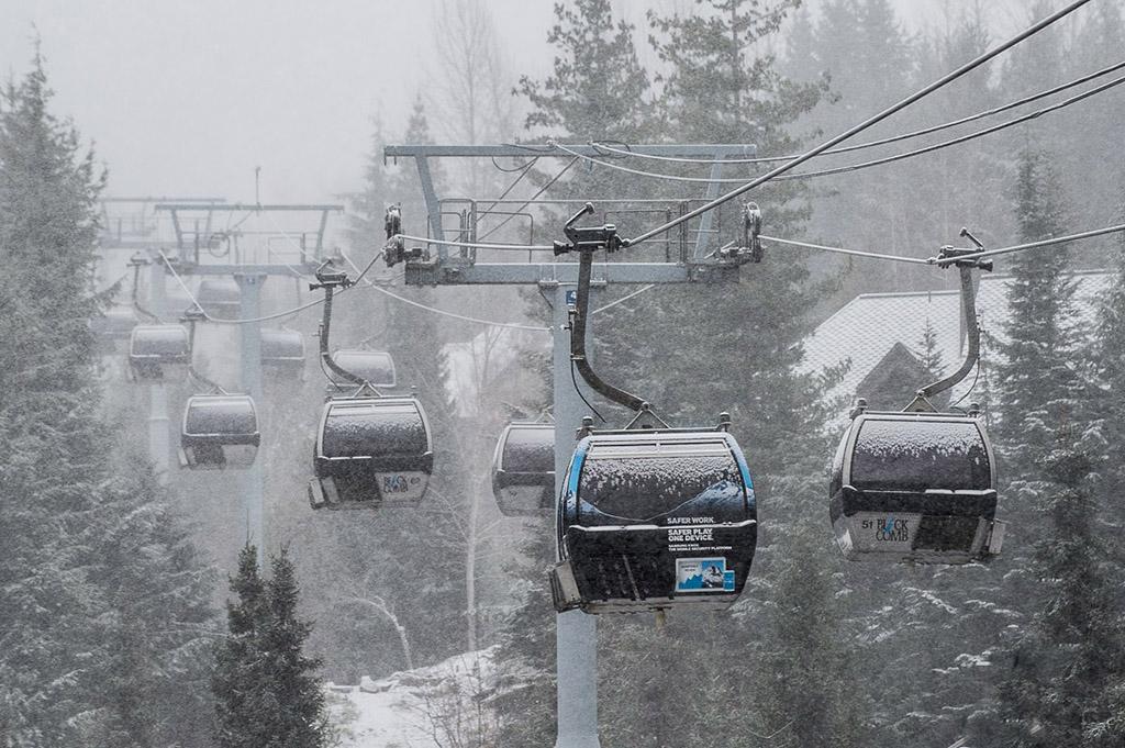 Whistler Blackcomb resort ski lift with snow