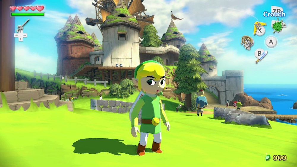 Link in front of a castle in 'The Legend of Zelda: The Wind Waker HD'
