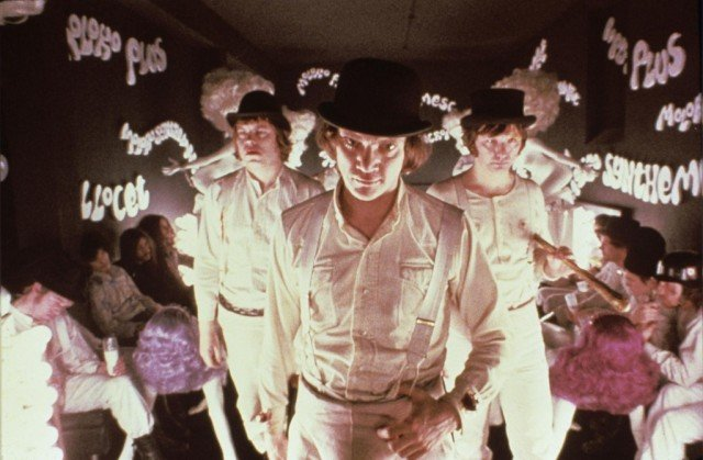 Malcolm McDowell stars as Alex DeLarge in Stanley Kubrick's classic dystopian film, 'A Clockwork Orange.'