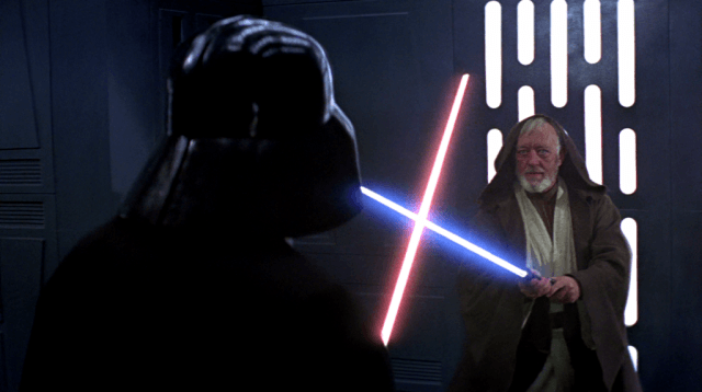 Darth Vader and Obi-Wan Kenobi (Alec Guinness) battle with lightsabers in 'Star Wars: Episode IV - A New Hope'