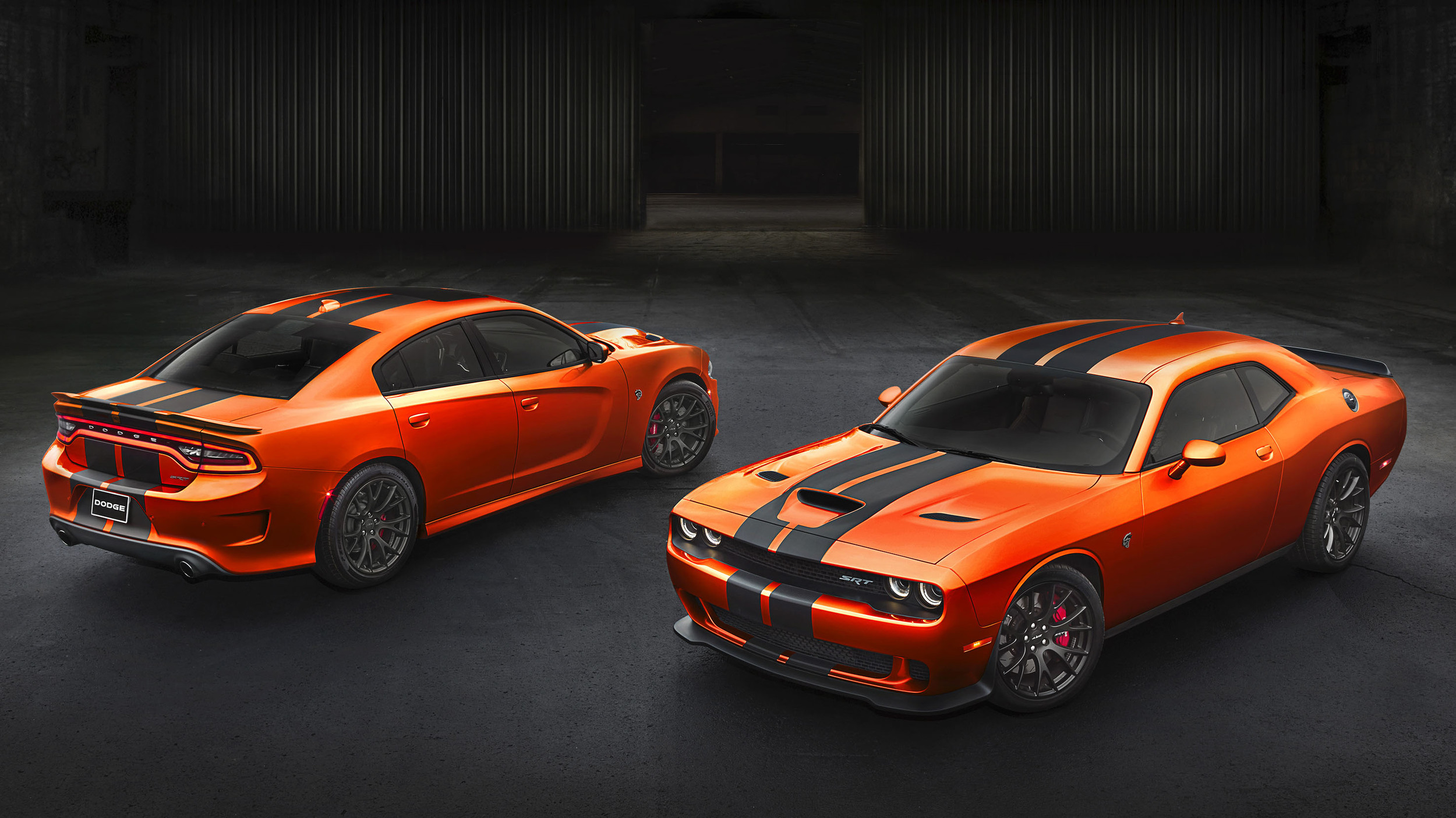 The 2016 Dodge Charger and Challenger SRT Hellcat in bright orange