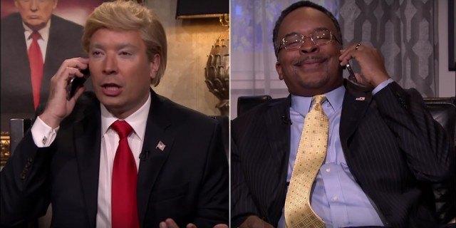 Donald Trump (Jimmy Fallon) and Ben Carson (David Alan Grier) talk politics in a 'Tonight Show' sketch.