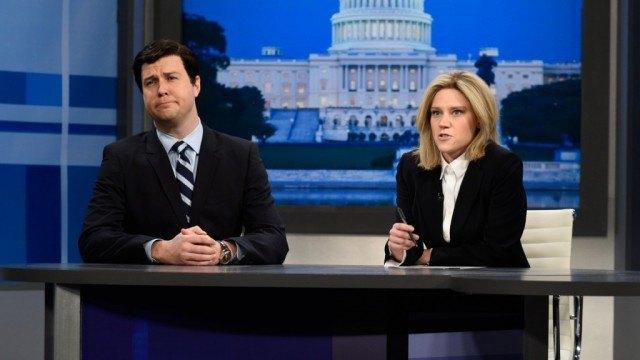 Ted Cruz (Taran Killam) appears on Greta Van Sustern's (Kate McKinnon) Fox News show in a recent 'Saturday Night Live' sketch.