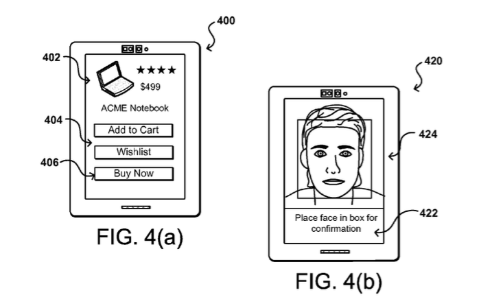 Drawing of Amazon selfie technology