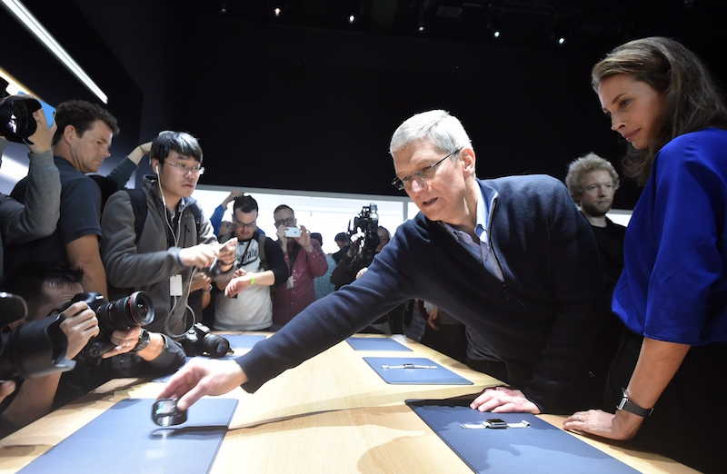 Apple CEO Tim Cook during an Apple media event