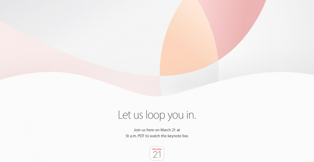 The invitation for Apple's March 21 press event reads, 'Let us loop you in'