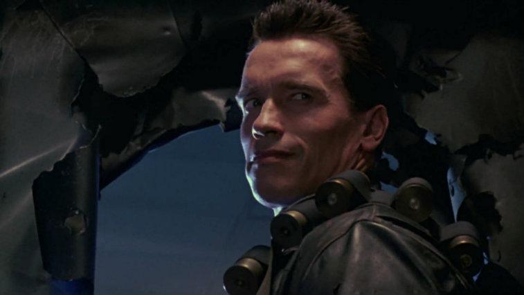 Arnold Schwarzenegger looks over his shoulder in Terminator 2: Judgment Day