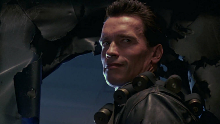 Arnold Schwarzenegger looks over his shoulder in Terminator 2: Judgment Day