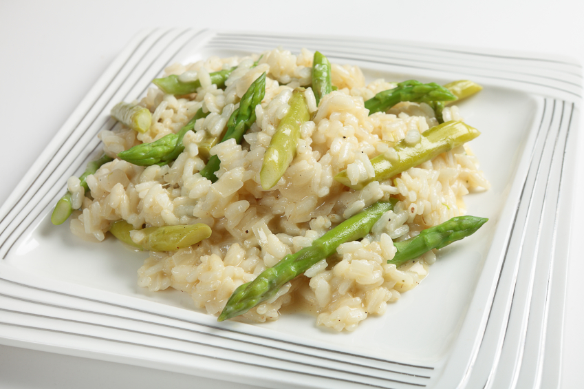 Asparagus risotto in a white plate