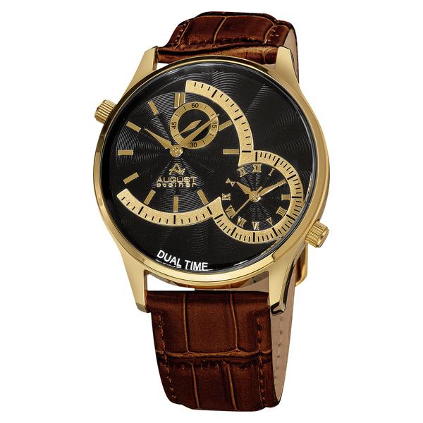August Steiner Men's Swiss Quartz Multifunction Dual Time Leather Strap Watch