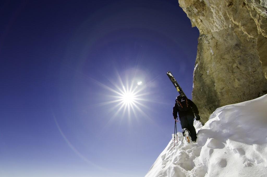 man hiking at Jackson Hole