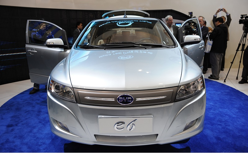 The Chinese BYD E6 electric car is displayed during the the second press preview day at the 2010 North American International Auto Show on January 12, 2010 at Cobo Center in Detroit. AFP PHOTO/Stan HONDA (Photo credit should read STAN HONDA/AFP/Getty Images)