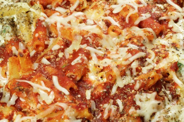 close-up of baked ziti with cheese