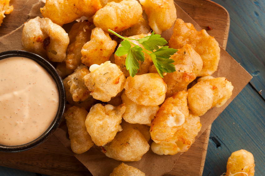 Beer Battered Wisconsin Cheese Curds and white sauce