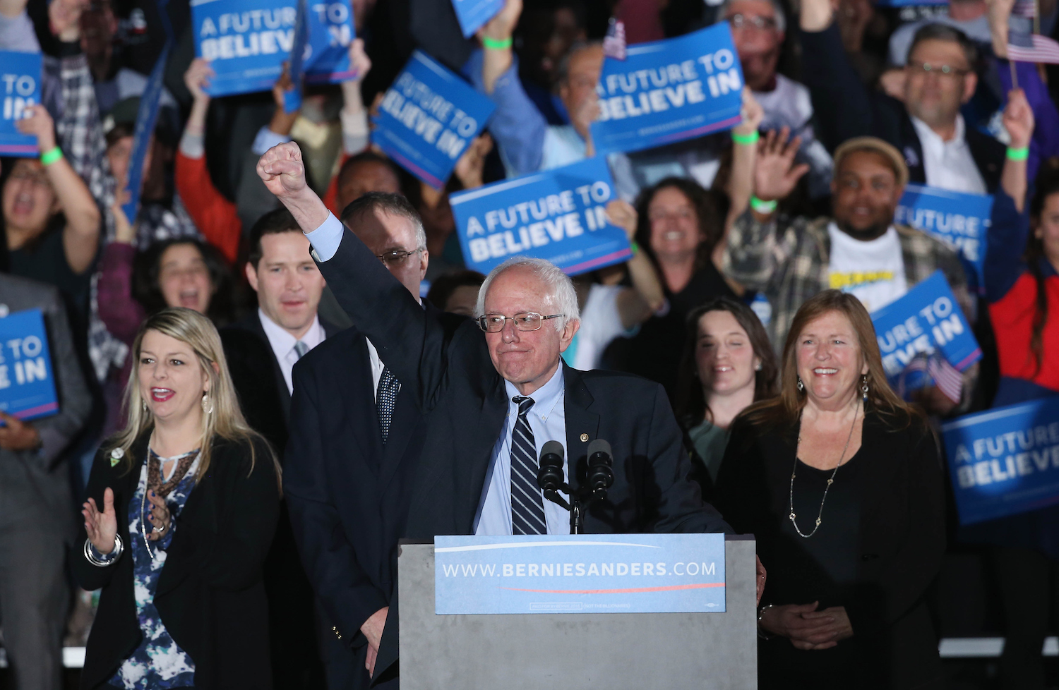 Bernie Sanders speaking at a rally
