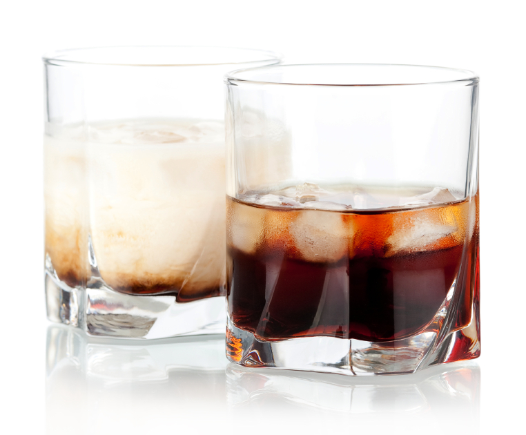 a black and a white russian cocktail
