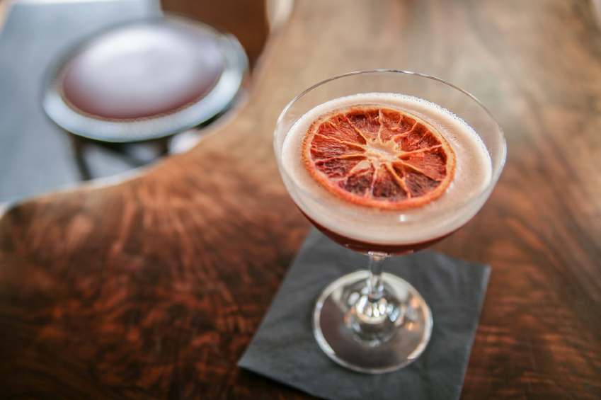 Blood orange cocktail with orange slice