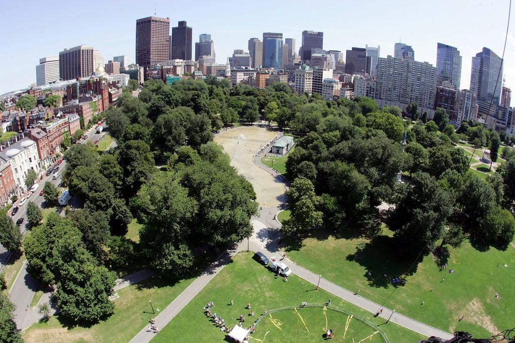 boston common and boston skyline