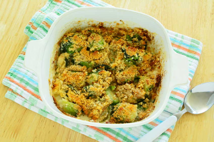 Brussels sprouts gratin in white bowl