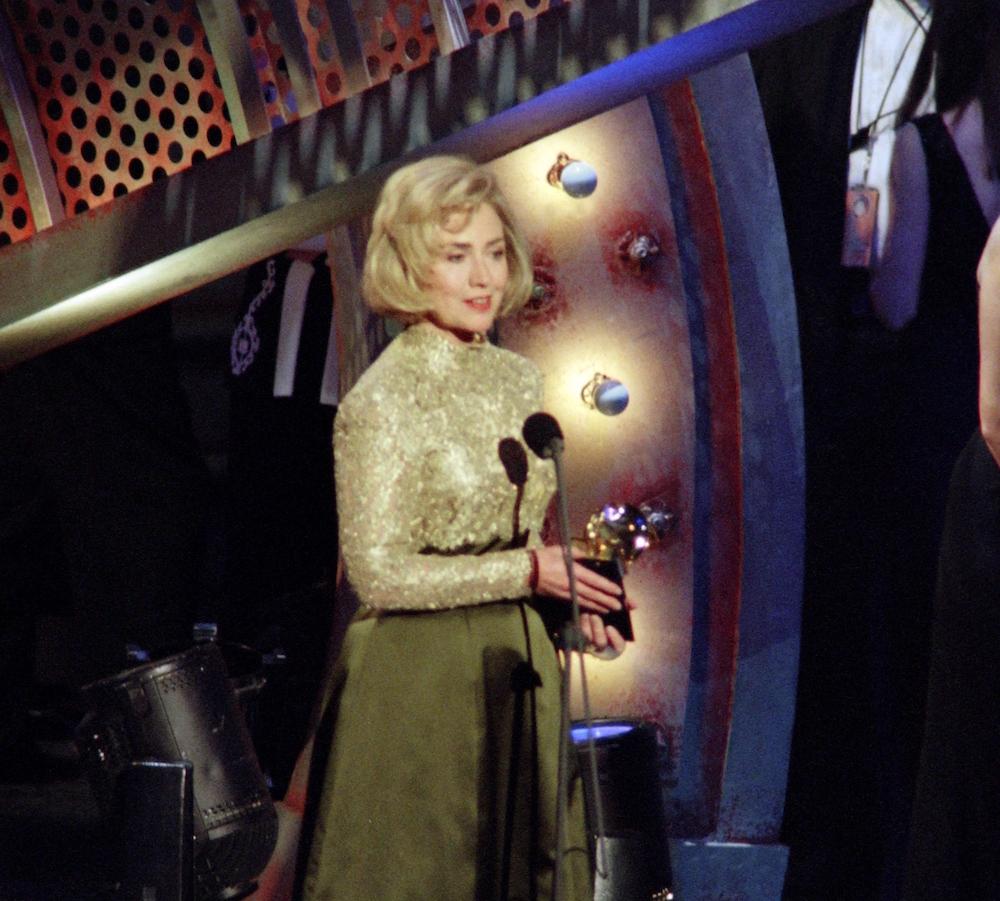 Hillary Clinton receives a Grammy award