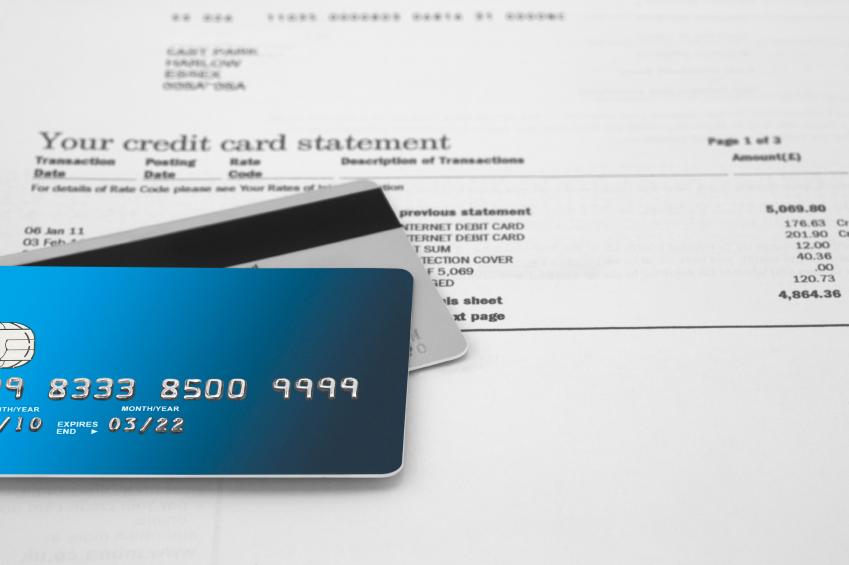 credit card and bill