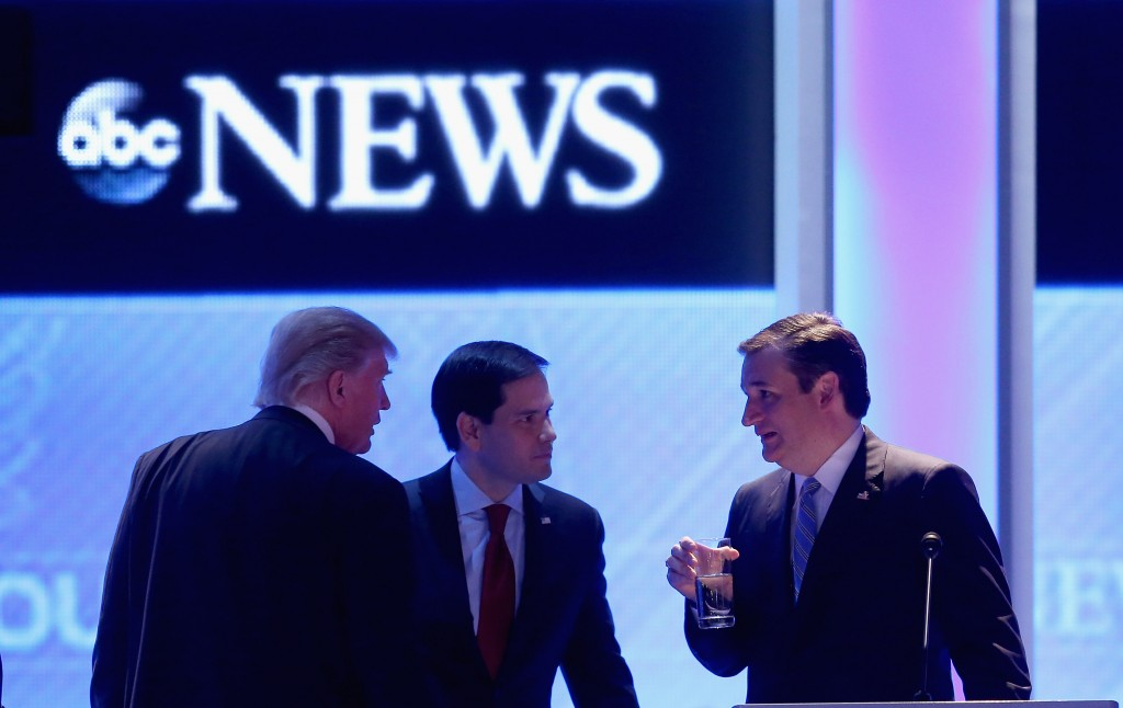 Ted Cruz at debate with Donald Trump and Marco Rubio
