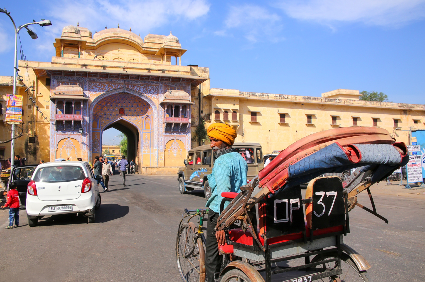 cycle rickshaw in Jaipur, India on a sunny day