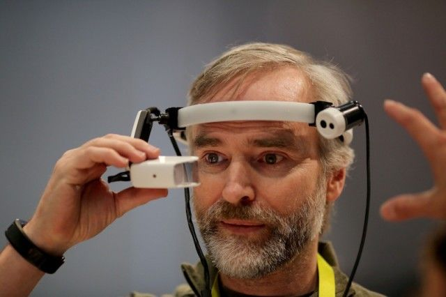 Man using augmented reality headset