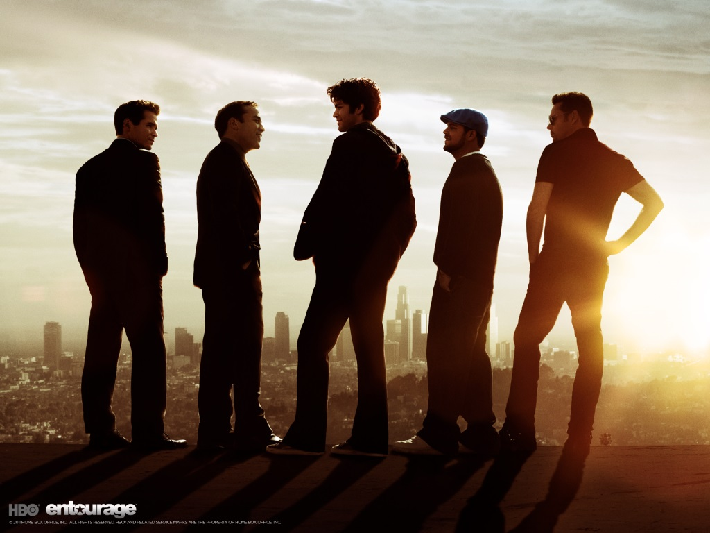 The cast of Entourage in front of the city of Los Angeles