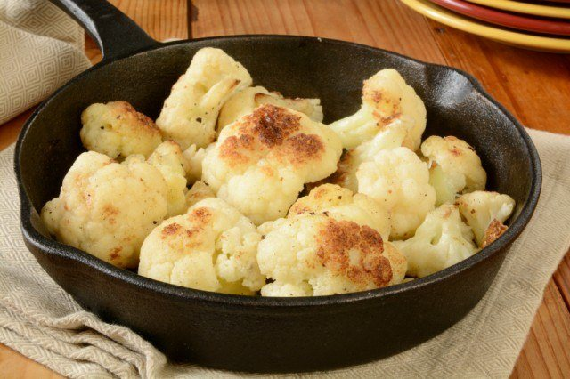sauteed cauliflower in a skillet