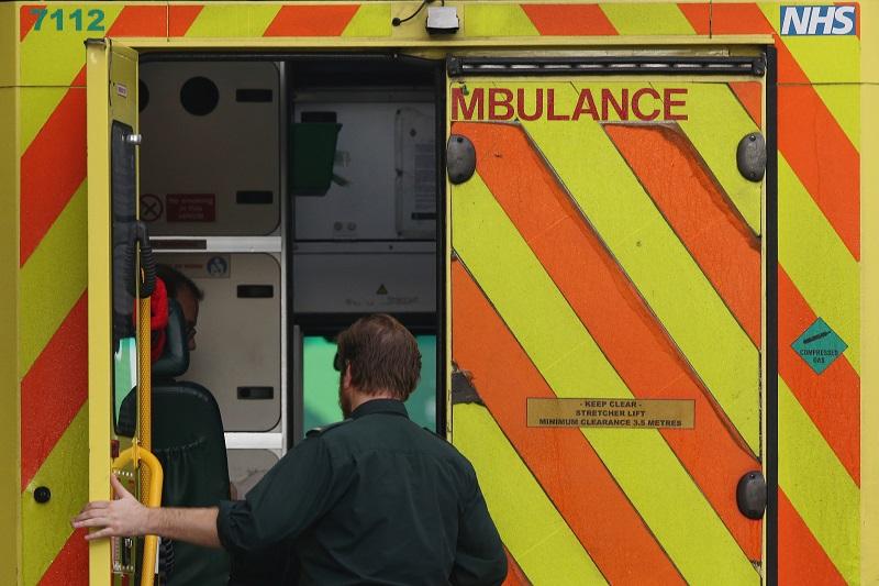 An EMT in an ambulance