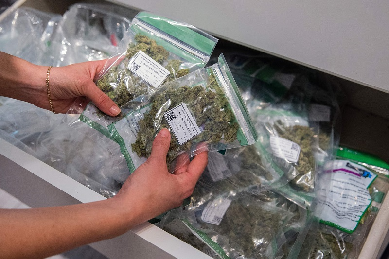 bags of legal marijuana being sold