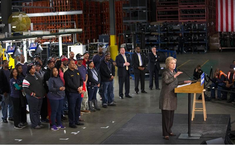 Hillary Clinton speaks in Detroit