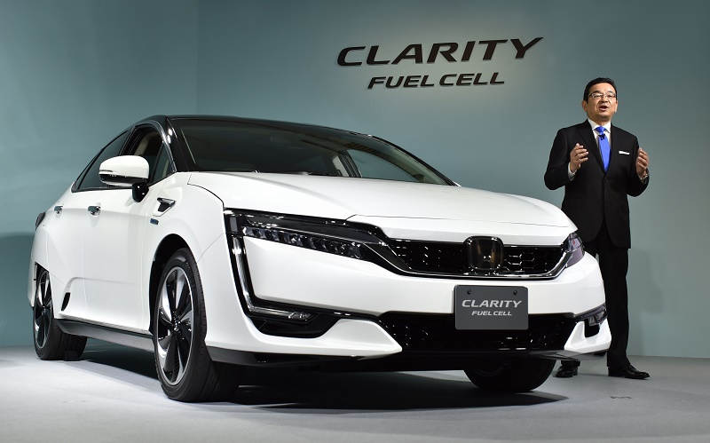 Honda Motors President Takahiro Hachigo speaks during a press preview to announce its new fuel cell vehicle (FCV), the Clarity Fuel Cell at the company's headquarters in Tokyo on March 10, 2016. Honda Motor announced on March 10 that they will began sales in Japan of its all-new Clarity Fuel Cell. / AFP / KAZUHIRO NOGI (Photo credit should read KAZUHIRO NOGI/AFP/Getty Images)