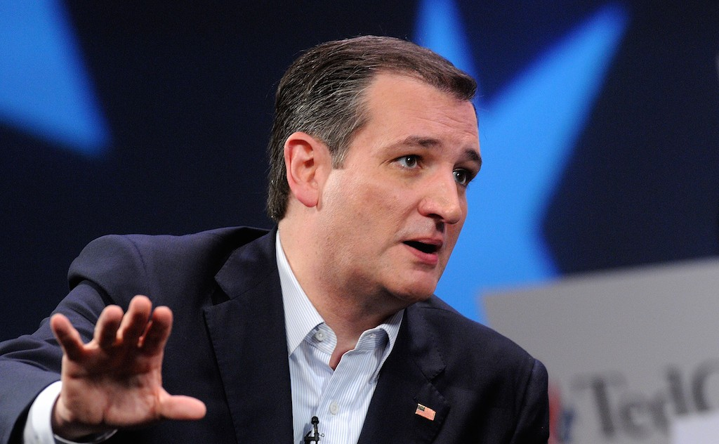 ORLANDO, FL - MARCH 11: Republican presidential candidate Sen. Ted Cruz (R-TX) speaks in a discussion with political commentator Sean Hannity during a campaign rally at Faith Assembly of God Church on March 11, 2016 in Orlando, Florida. The candidates continue to campaign before the March 15th Florida primary. (Photo by Gerardo Mora/Getty Images)