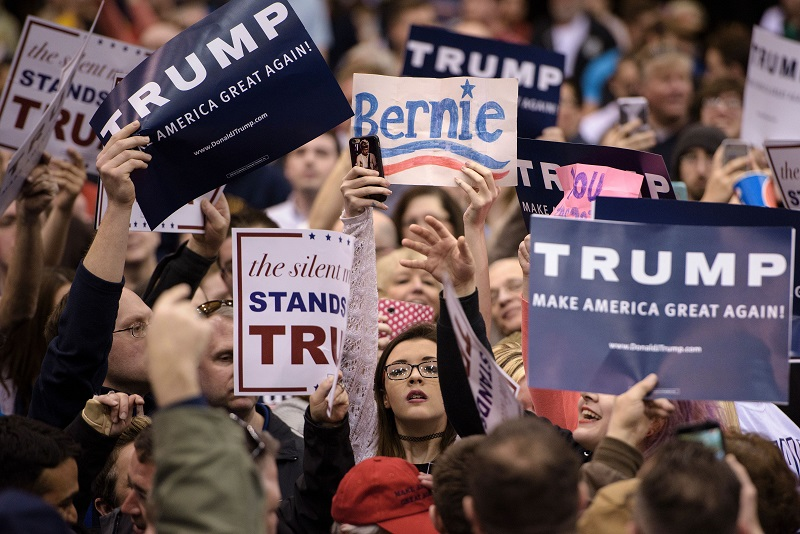 Donald Trump and Bernie Sanders fans coalesce