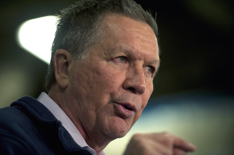 STRONGSVILLE, OHIO, MARCH 13: Republican Presidential candidate Ohio Gov. John Kasich speaks to supporters at the Ehrnfelt Recreation Center on March 13, 2016 in Strongsville, Ohio. Kasich is campaigning in Ohio ahead of Tuesday's primary. (Photo by Jeff Swensen/Getty Images)