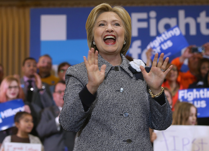 """CHICAGO, IL - MARCH 14: Democratic presidential candidate Hillary Clinton speaks during a """"Get Out the Vote"""" event at the Chicago Journeymen Plumbers Local Union on March 14, 2016 in Chicago, Illinois. Clinton is campaigning in Illinois and North Carolina ahead of the March 15 primaries. (Photo by Justin Sullivan/Getty Images)"""