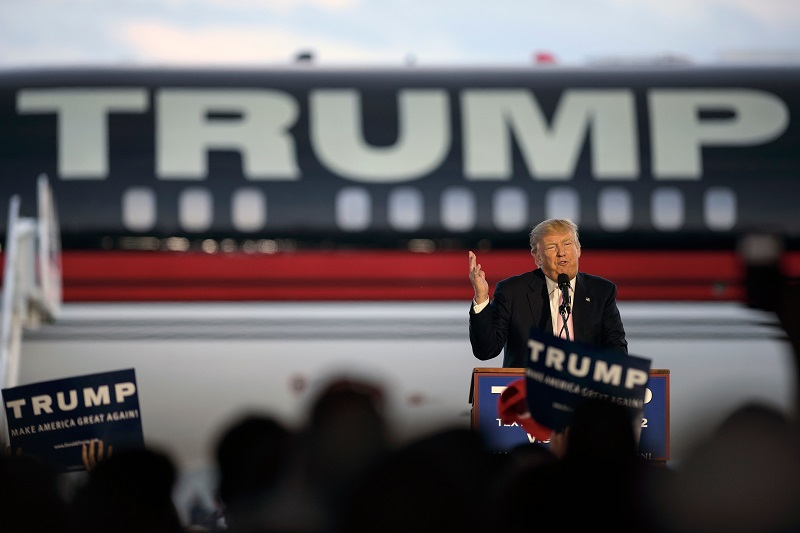 Donald Trump speaking to supporters