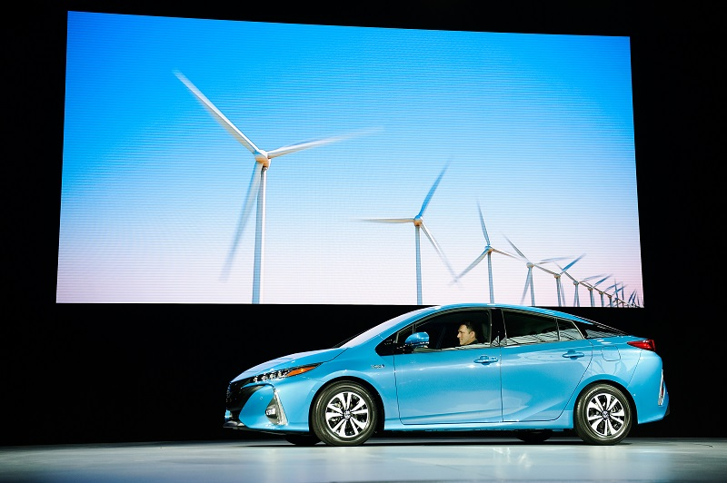 The new model of the Toyota Prius, named Prius Prime, debuts in New York.