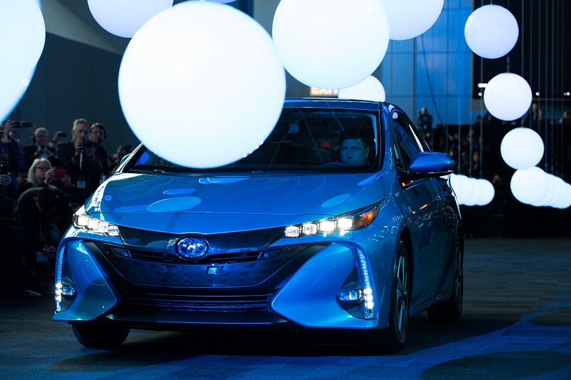 NEW YORK, NY - MARCH 23: The new model of the Toyota Prius, named the Prius Prime, is introduced at the New York International Car Show at the Javits Center on March 23, 2016 in New York, NY. The Prius Prime was one of three new models, including the Toyota 86 and the Highlander Hybrid, that was introduced by Toyota at the annual car show. (Photo by Bryan Thomas/Getty Images)