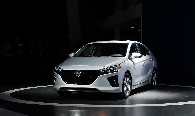 NEW YORK, NY - MARCH 23: The electric version of the new Hyundai Ioniq series is introduced during the New York International Auto Show at the Javits Center on March 23, 2016 in New York, NY. Hyundai introduced their Ioniq line of energy-efficient cars, including an electric, a hybrid, and a plug-in hybrid model. (Photo by Bryan Thomas/Getty Images)