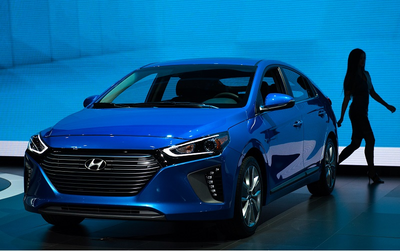 NEW YORK, NY - MARCH 23: The hybrid version of the new Hyundai Ioniq series is introduced during the New York International Auto Show at the Javits Center on March 23, 2016 in New York, NY. Hyundai introduced their Ioniq line of energy-efficient cars, including an electric, a hybrid, and a plug-in hybrid model. (Photo by Bryan Thomas/Getty Images)