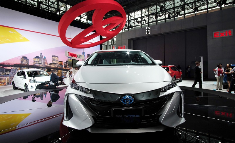 The Toyota Prius Prime is pictured during the New York International Auto Show on March 23, 2016. / AFP / Jewel SAMAD (Photo credit should read JEWEL SAMAD/AFP/Getty Images)