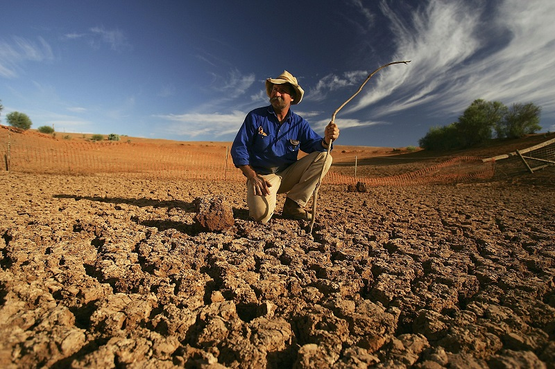 A man investigates drought damage due to climate change and drought