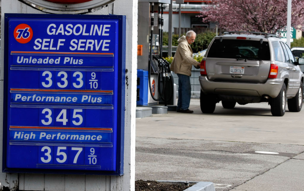 SAN RAFAEL, CA - FEBRUARY 22: A sign displays gasoline prices well over $3.00 per gallon at a Union 76 gas station February 22, 2008 in San Rafael, California. Gas prices surged to their highest level since June 2007 with the price of a gallon af regular unleaded increasing 2.9 cents in the past day to bring the national average of $3.115 a gallon. Despite oil trading above $101 a barrel this week, gas supplies are at their highest levels in 14 years.