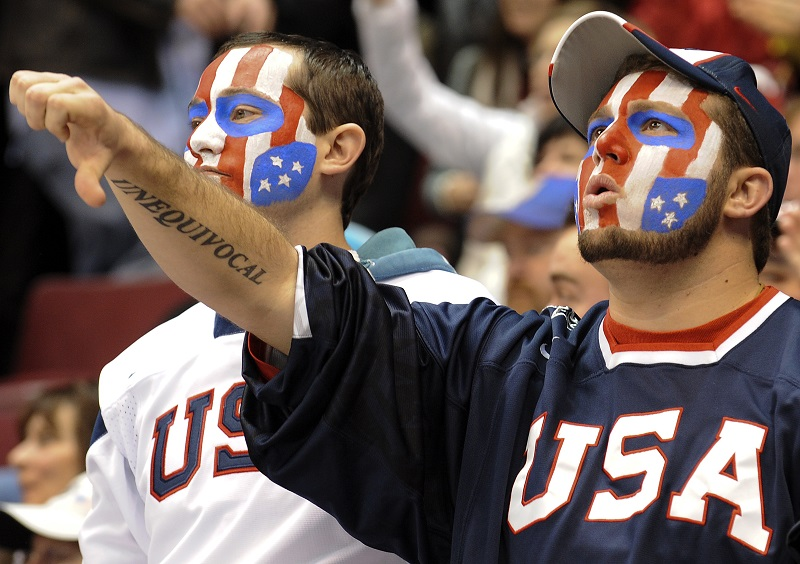 USA fan shows disapproval