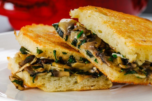 close-up of a mushroom grilled cheese on artisan bread