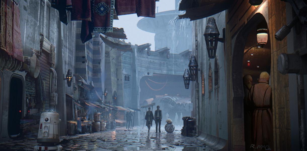 Han and Rey - Star Wars Concept Art