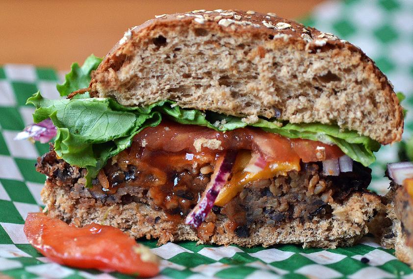 Close up of black Bean Burger cut in half